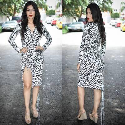 Conjunto de panti blusa y falda cebra  modelo 01599