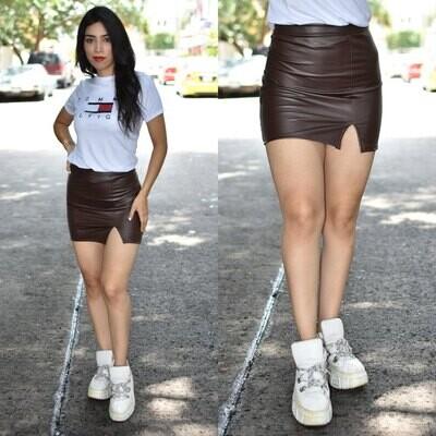 Mini falda  vinipiel modelo 01600-cafe
