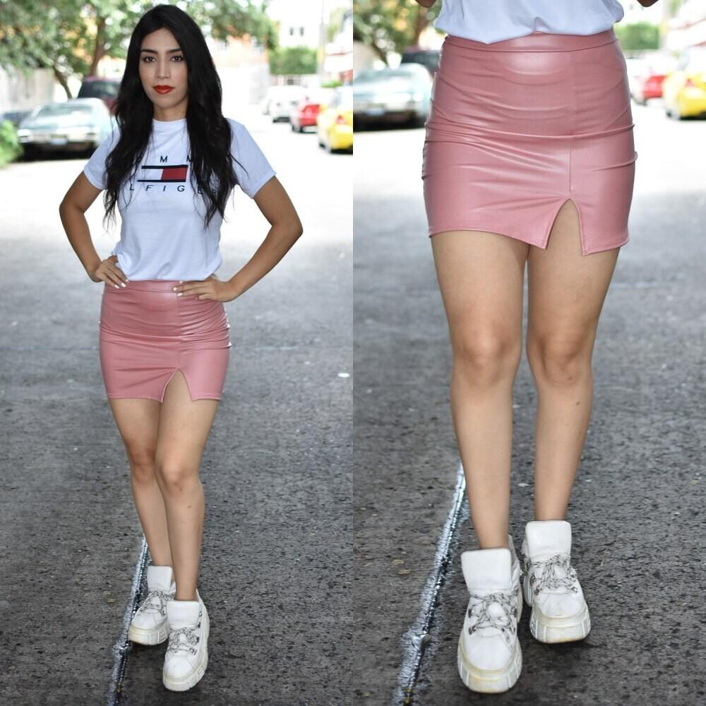 Mini falda  vinipiel modelo 01600-rosa