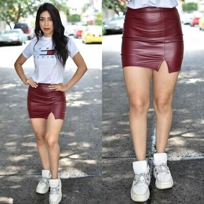 Mini falda  vinipiel modelo 01600-tinto