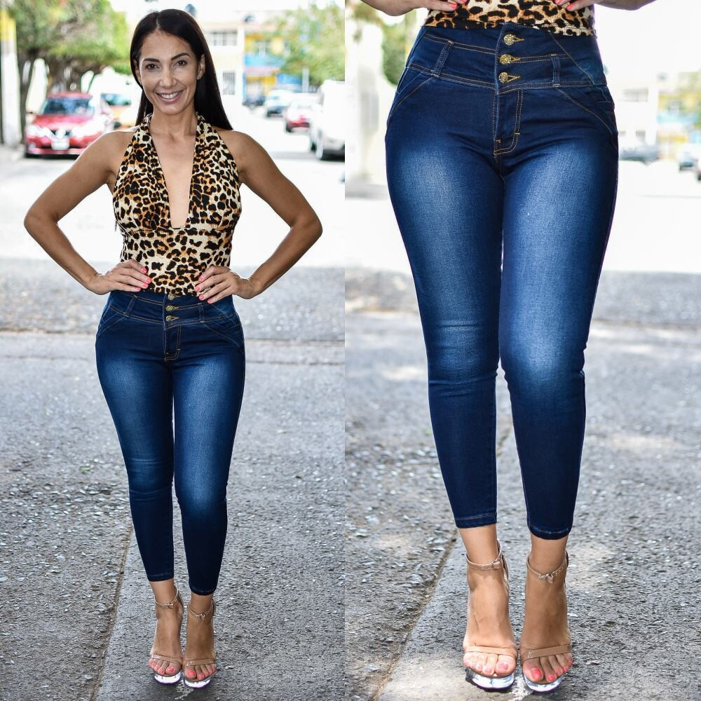 Pantalon tobillero 3 Botones costura en pretina Modelo 01636-OBSCURO