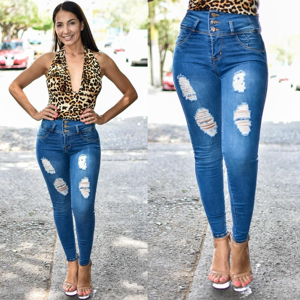 Pantalon Skinny 3 Botones Americano con destruccion Modelo 01638
