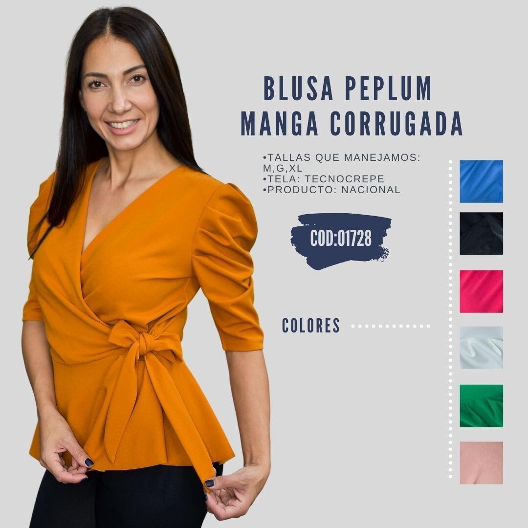 Blusa Peplum manga corrugada Modelo 01728