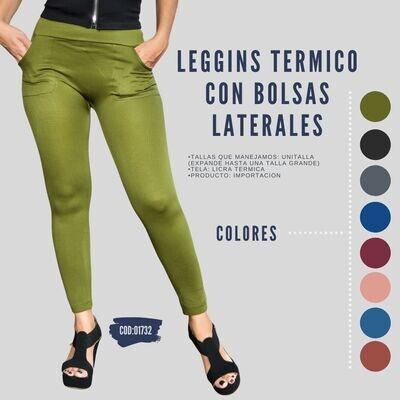 Leggins termico con bolsas laterales