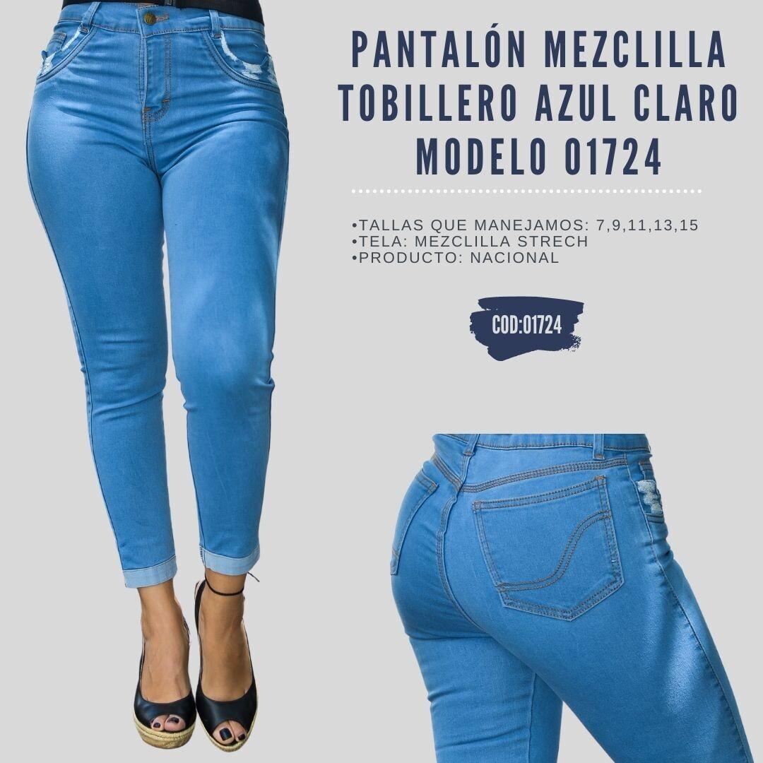 Pantalón Mezclilla tobillero azul claro  Modelo 01724