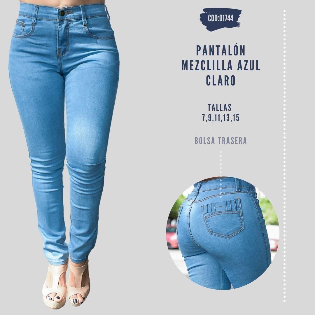 Pantalón Mezclilla azul claro Modelo 01744