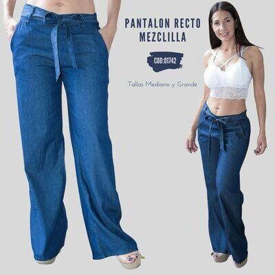 Pantalon recto mezclilla