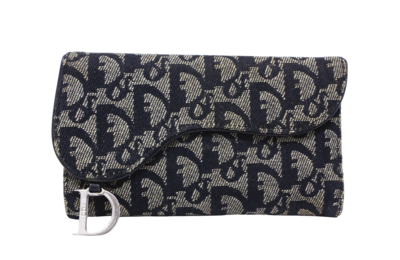 Christian Dior Navy Trotter Canvas Saddle Wallet