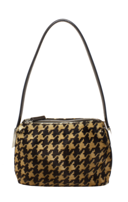 Dolce & Gabbana Houndstooth Black and Brown Baguette