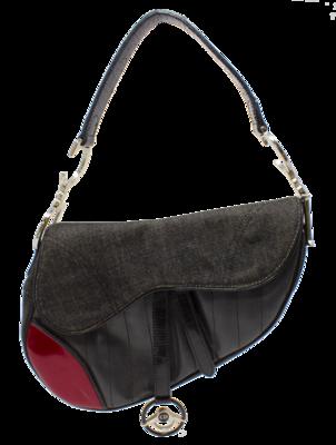 Christian Dior Black Denim & Leather Cadillac Saddle