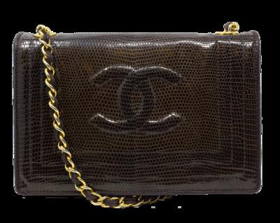 Chanel Brown Lizard Flap Bag