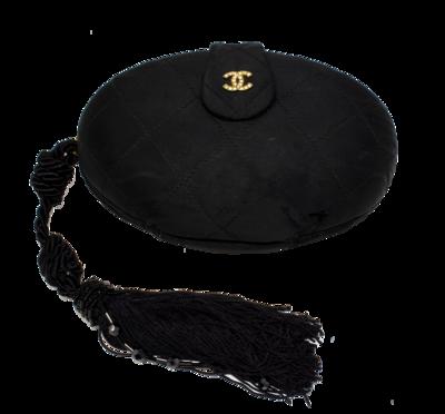 Chanel Rare 1990s CC Black Quilted Satin Tassel Minaudiere