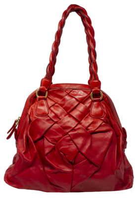 Valentino Garavani Red Leather Woven Bag