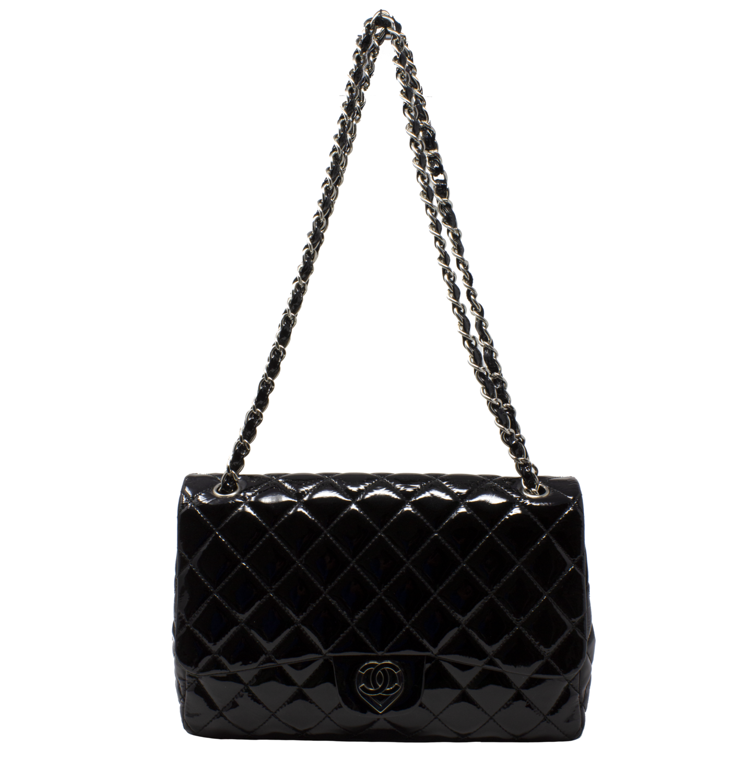 Chanel Black Patent Jumbo Flap Bag