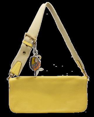 Prada Yellow Grained Leather Logo Shoulder Bag