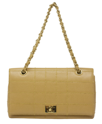 Chanel Tan CC Wild Stitched Large Quilted Flap Bag