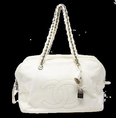 Chanel Ivory CC Logo Lock Shoulder Bag