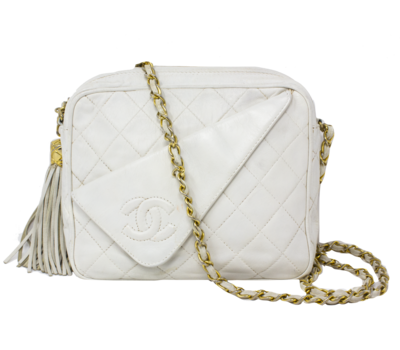 Chanel White Tassel CC Asymmetrical Flap Bag