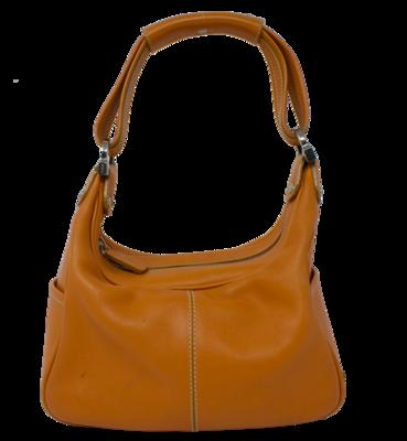 Tods Orange Leather Loafer Shoulder Bag