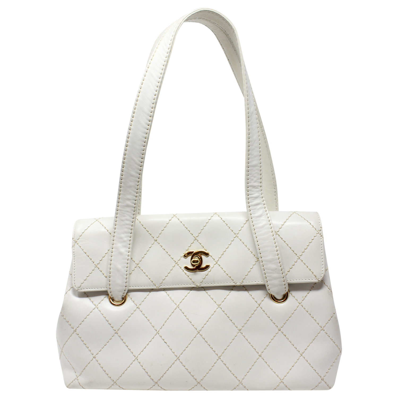 Chanel White Wild Stitched CC Shoulder Flap Bag