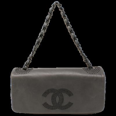 Chanel Cruise 2009 Grey Studded CC East West Full Flap Bag
