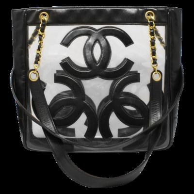 Chanel Black Triple CC PVC Timeless Shopping Tote