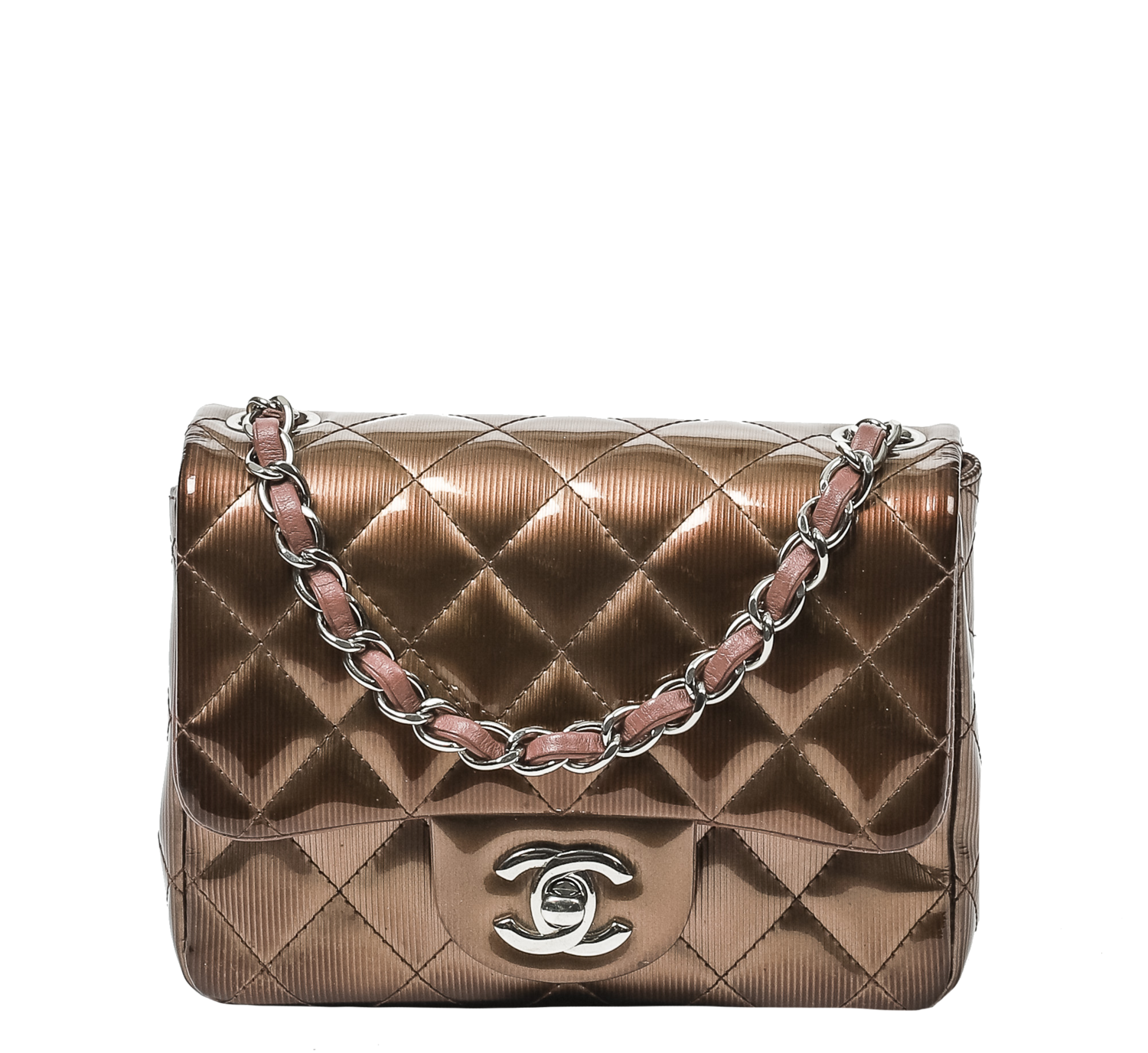 Chanel Limited Edition Pink Rose Fonce Striated Patent Mini Square Flap Bag