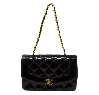 Chanel Black Patent Diana Flap Bag