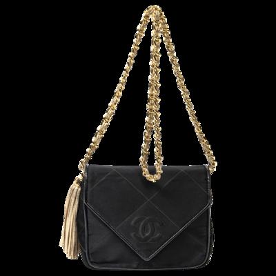 Chanel CC Satin Black Envelope Tassel Bag