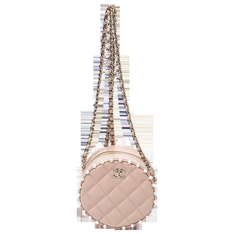 Chanel Limited Edition Mini Peach Pearl Round Bag