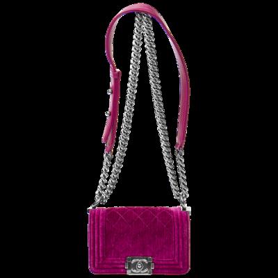 Chanel Fuchsia Velvet Mini Boy Bag