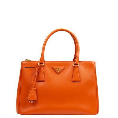 Prada Small Orange Saffiano Galleria Bag w/ Strap