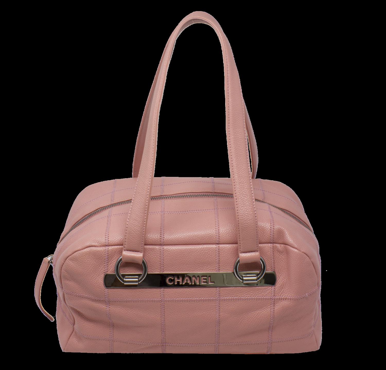 Chanel Pink Caviar Logo Plate Shoulder Bag