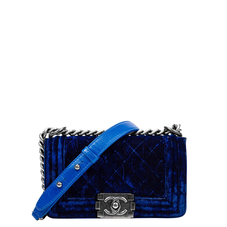 Chanel Small Royal Blue Velvet Boy Bag