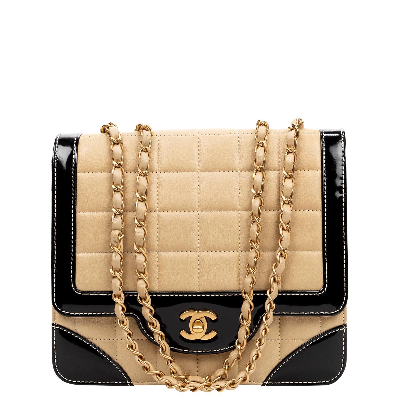 Chanel 2000 Bicolor Chocolate Bar Square Flap Bag