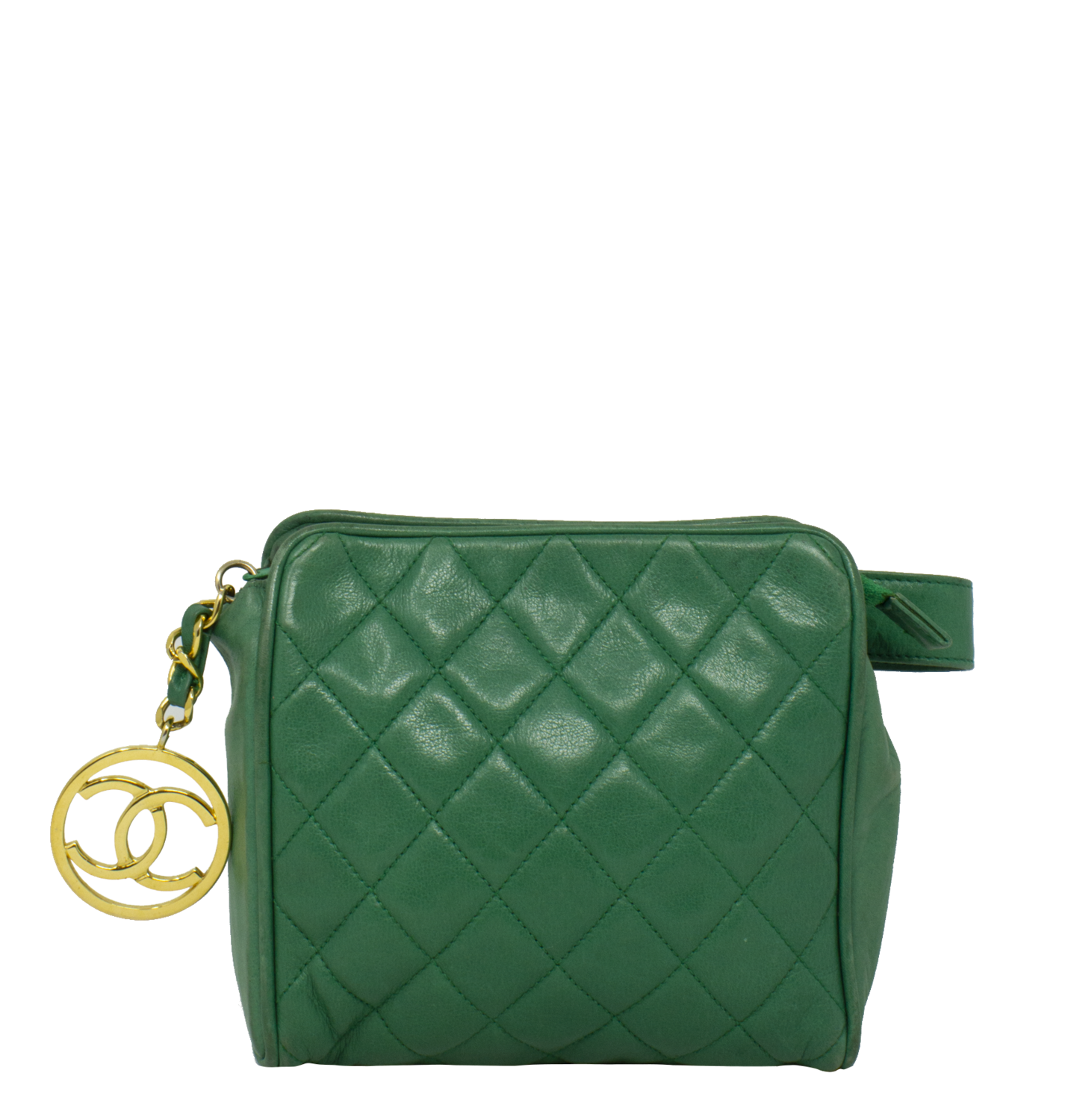 Chanel Green Quilted CC Charm Belt Bag