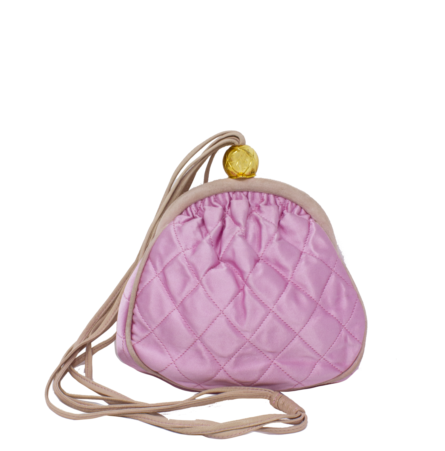 Chanel Pink Satin Quilted Kiss-Lock Bag