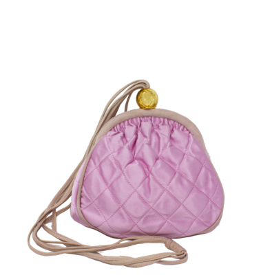 Chanel Pink Satin Quilted Evening Bag