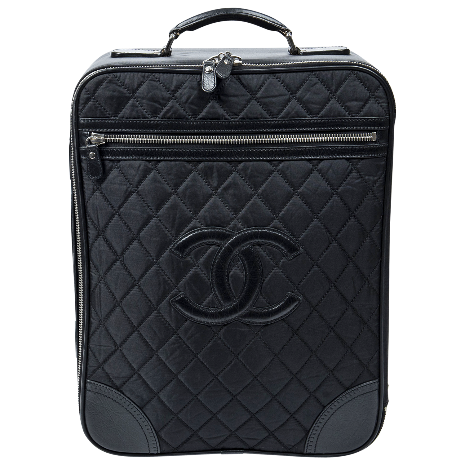 Chanel Black Quilted Nylon CC Trolley
