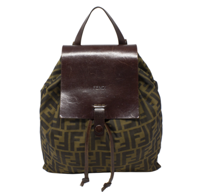 Fendi Brown Zucca Leather Flap Backpack