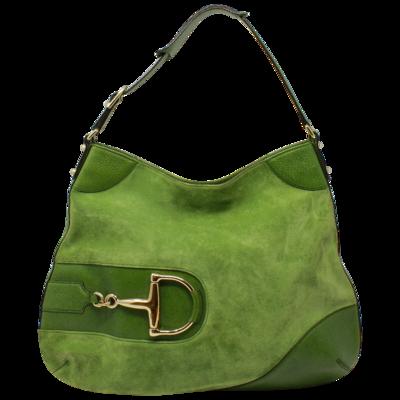 Gucci Green Horsebit Large Shoulder Bag