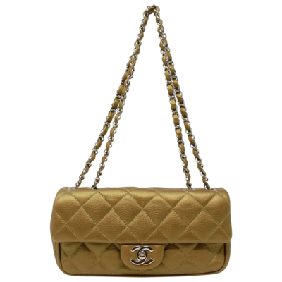 Chanel Caramel Quilted East West Flap Bag