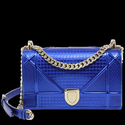 Christian Dior Medium Metallic Blue Micro-Cannage Diorama Bag (Never Carried)