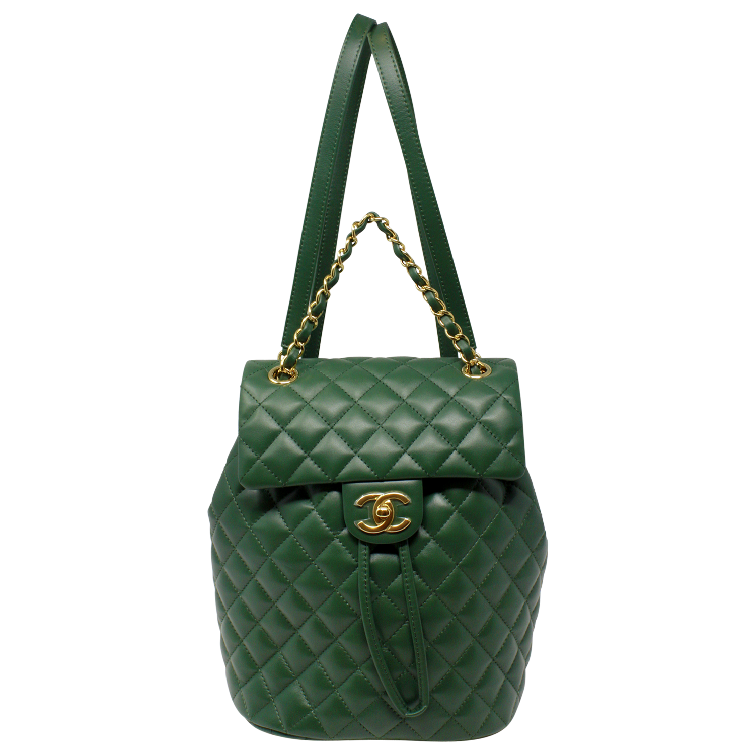 Chanel Green Quilted Lambskin Leather Backpack (Never Carried)