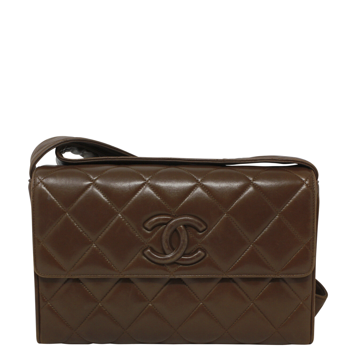 Chanel 90s Paris Brown Quilted Crossbody Bag