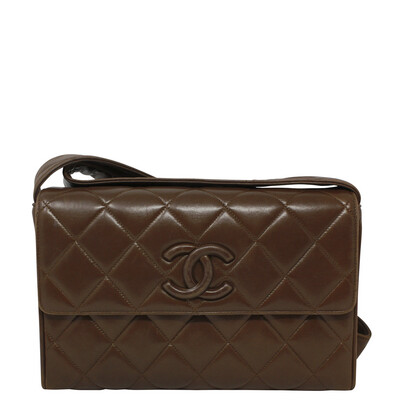 Chanel 90s Paris Brown Box Quilted Crossbody Bag