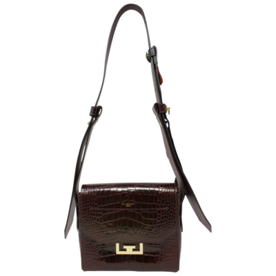 Givenchy x Ariana Grande Burgundy Croc Embossed Small Eden Bag