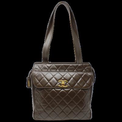 Chanel Vintage Brown Quilted Calfskin Leather Shoulder Bag