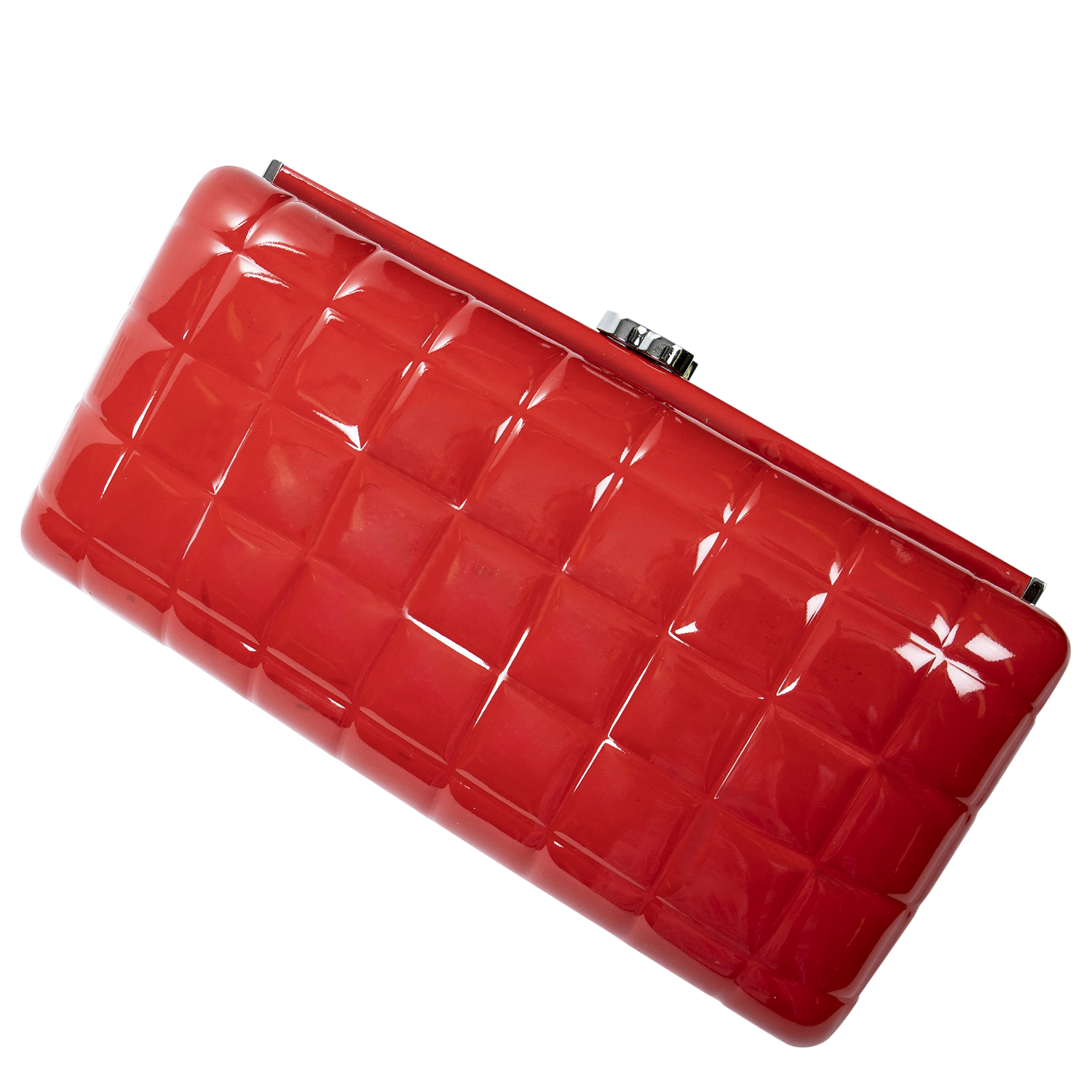 Chanel Rare Red CC Patent Leather Chocolate Bar Clutch
