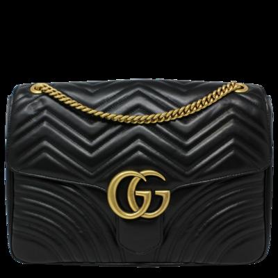 Gucci Black Matelasse GG Marmont Large Shoulder Bag